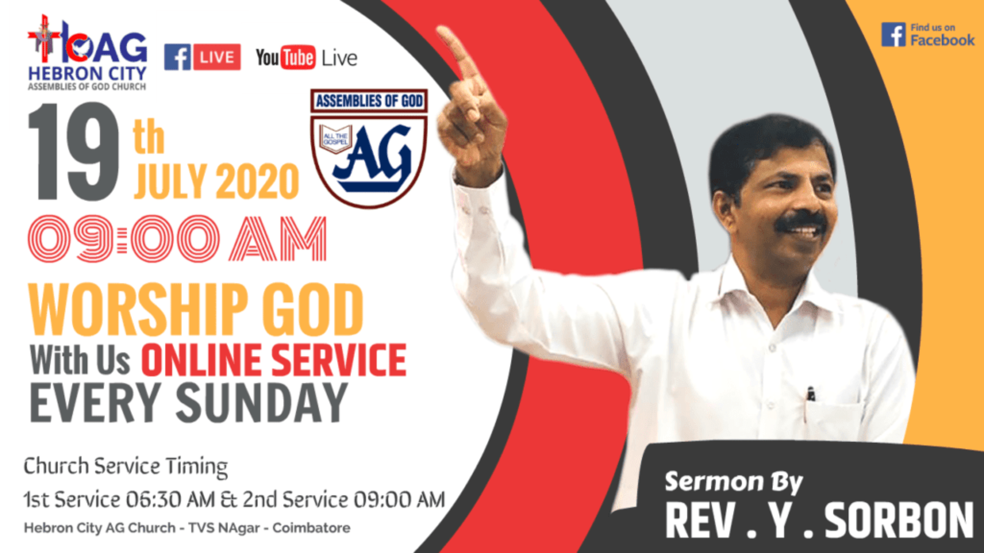 LIVE: 19th JULY 2020 ONLINE SUNDAY SERVICE - SERMON BY REV. Y. SORBON - Hebron City AG Church
